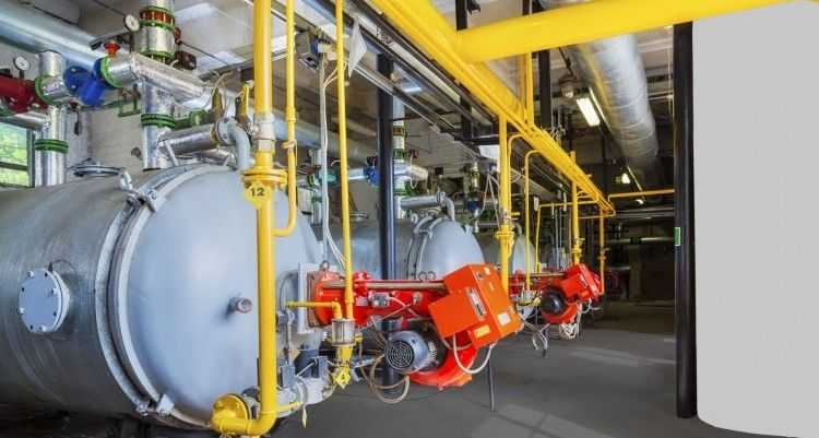 Old gas steel boilers established in old  boiler-house